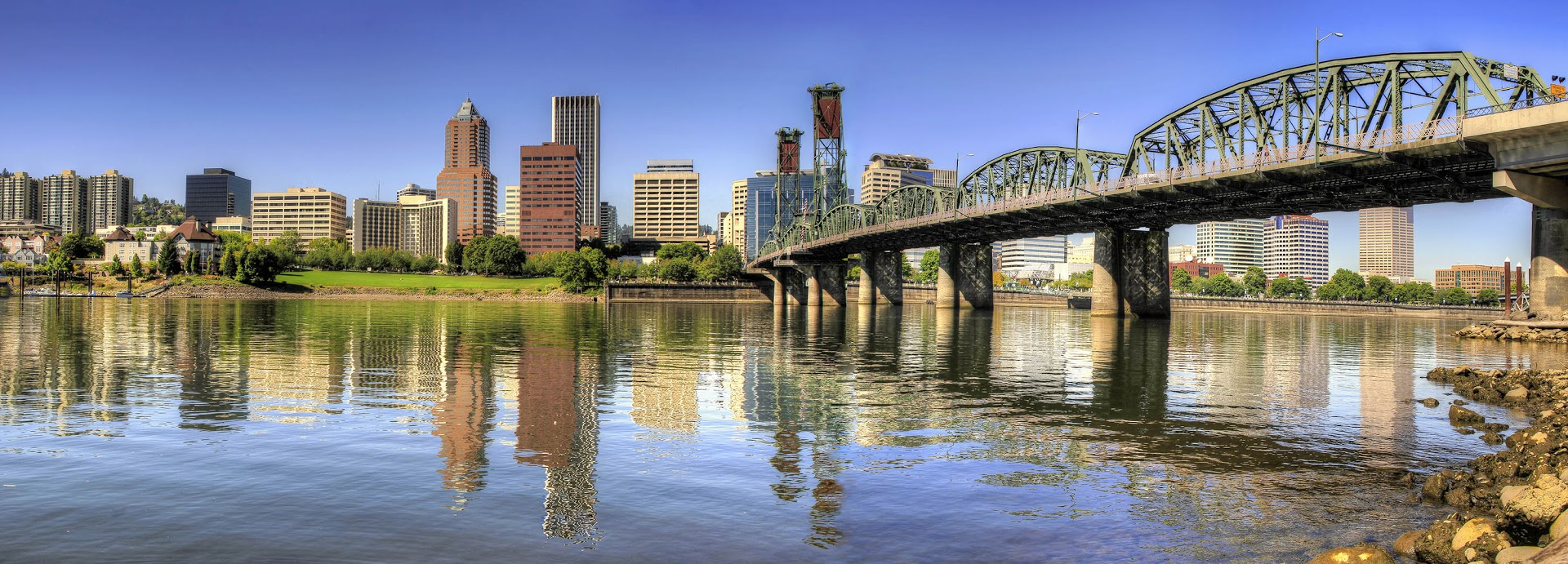 portland, or bridge and river with city view