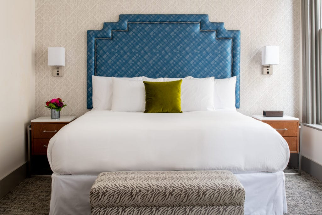 standard king bed with nightstands